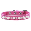 Mirage Pet Products Crystal and White Spikes Dog Collar Bright Pink Size 14