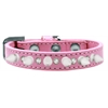 Mirage Pet Products Crystal and White Spikes Dog Collar Light Pink Size 12