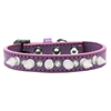 Mirage Pet Products Crystal and White Spikes Dog Collar Lavender Size 16