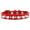 Mirage Pet Products Crystal and White Spikes Dog Collar Red Size 10