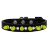 Mirage Pet Products Crystal and Neon Yellow Spikes Dog Collar Black Size 10