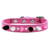 Mirage Pet Products Crystal with Black, White and Bright Pink Spikes Dog Collar Bright Pink Size 14