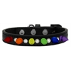 Mirage Pet Products Crystal with Rainbow Spikes Dog Collar Black Size 10