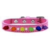 Mirage Pet Products Crystal with Rainbow Spikes Dog Collar Bright Pink Size 16