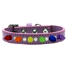 Mirage Pet Products Crystal with Rainbow Spikes Dog Collar Lavender Size 14