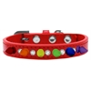 Mirage Pet Products Crystal with Rainbow Spikes Dog Collar Red Size 10