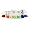 Mirage Pet Products Crystal with Rainbow Spikes Dog Collar White Size 16