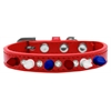 Mirage Pet Products Crystal with Red, White and Blue Spikes Dog Collar Red Size 10