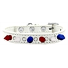 Mirage Pet Products Crystal with Red, White and Blue Spikes Dog Collar White Size 12