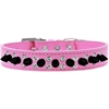 Mirage Pet Products Double Crystal and Black Spikes Dog Collar Bright Pink Size 20