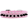 Mirage Pet Products Double Crystal and Black Spikes Dog Collar Light Pink Size 18