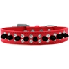 Mirage Pet Products Double Crystal and Black Spikes Dog Collar Red Size 12