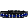 Mirage Pet Products Double Crystal and Blue Spikes Dog Collar Black Size 20