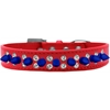 Mirage Pet Products Double Crystal and Blue Spikes Dog Collar Red Size 16