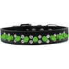 Mirage Pet Products Double Crystal and Neon Green Spikes Dog Collar Black Size 14