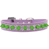 Mirage Pet Products Double Crystal and Neon Green Spikes Dog Collar Lavender Size 14