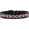 Mirage Pet Products Double Crystal and Light Pink Spikes Dog Collar Black Size 16
