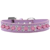 Mirage Pet Products Double Crystal and Light Pink Spikes Dog Collar Lavender Size 14
