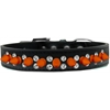 Mirage Pet Products Double Crystal and Neon Orange Spikes Dog Collar Black Size 16