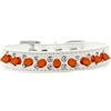 Mirage Pet Products Double Crystal and Neon Orange Spikes Dog Collar White Size 14