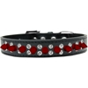 Mirage Pet Products Double Crystal and Red Spikes Dog Collar Black Size 16