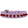 Mirage Pet Products Double Crystal and Red Spikes Dog Collar Lavender Size 16