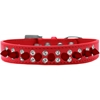 Mirage Pet Products Double Crystal and Red Spikes Dog Collar Red Size 16