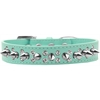 Mirage Pet Products Double Crystal and Silver Spikes Dog Collar Aqua Size 16