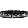 Mirage Pet Products Double Crystal and Silver Spikes Dog Collar Black Size 18