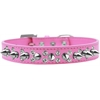 Mirage Pet Products Double Crystal and Silver Spikes Dog Collar Bright Pink Size 18