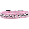 Mirage Pet Products Double Crystal and Silver Spikes Dog Collar Light Pink Size 14