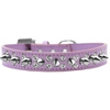 Mirage Pet Products Double Crystal and Silver Spikes Dog Collar Lavender Size 20
