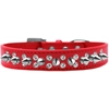 Mirage Pet Products Double Crystal and Silver Spikes Dog Collar Red Size 18