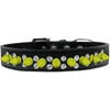 Mirage Pet Products Double Crystal and Neon Yellow Spikes Dog Collar Black Size 16