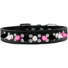 Mirage Pet Products Double Crystal with Black, White and Bright Pink Spikes Dog Collar Black Size 16