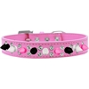 Mirage Pet Products Double Crystal with Black, White and Bright Pink Spikes Dog Collar Bright Pink Size 16