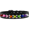 Mirage Pet Products Double Crystal with Rainbow Spikes Dog Collar Black Size 12