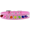 Mirage Pet Products Double Crystal with Rainbow Spikes Dog Collar Bright Pink Size 14