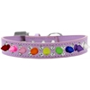 Mirage Pet Products Double Crystal with Rainbow Spikes Dog Collar Lavender Size 18