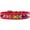 Mirage Pet Products Double Crystal with Rainbow Spikes Dog Collar Red Size 16