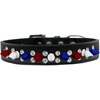 Mirage Pet Products Double Crystal with Red, White and Blue Spikes Dog Collar Black Size 20