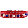 Mirage Pet Products Double Crystal with Red, White and Blue Spikes Dog Collar Red Size 18