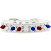 Mirage Pet Products Double Crystal with Red, White and Blue Spikes Dog Collar White Size 20