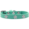 Mirage Pet Products Silver Flower Widget Dog Collar Aqua Size 10