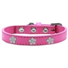 Mirage Pet Products Silver Flower Widget Dog Collar Bright Pink Size 16