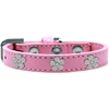 Mirage Pet Products Silver Flower Widget Dog Collar Light Pink Size 14
