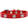 Mirage Pet Products Silver Flower Widget Dog Collar Red Size 20
