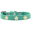 Mirage Pet Products Gold Flower Widget Dog Collar Aqua Size 18
