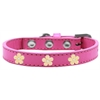 Mirage Pet Products Gold Flower Widget Dog Collar Bright Pink Size 16