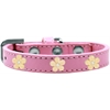 Mirage Pet Products Gold Flower Widget Dog Collar Light Pink Size 16